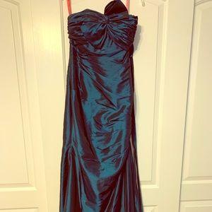 Dark blue fitted prom dress